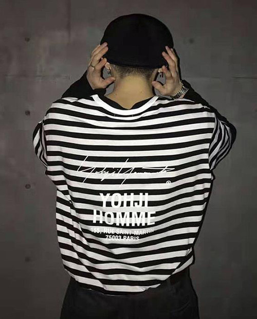Y-X OVER FIT STRIPE BACK LOGO TOP 2/1
