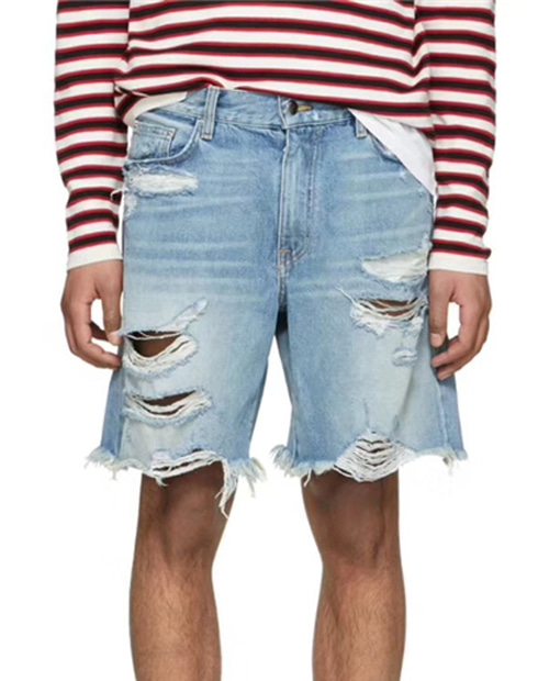 AMR DAMAGE DENIM SHORT PANTS