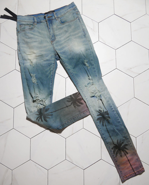 AMR HAWAI PRINTING DENIM PANTS
