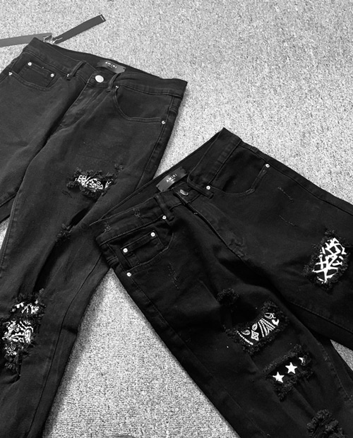 AMR CHESS PATCH DAMAGE JEANS